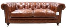 Earle Chesterfield Tan Leather Sofa 2 Seater