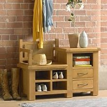 Earls Wooden Hallway Bench With Shoe Storage In