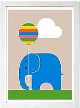 East End Prints Elephant By Dicky Bird A3 Framed