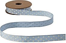 East of India 3M Ribbon  Blue  with Cream dots
