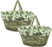east2eden Brown Wicker Willow Shopping Hamper