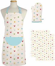 east2eden Countryside Kitchen Pastel Hearts Apron