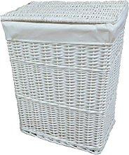 east2eden White Wicker Linen Laundry Basket with