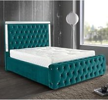 Eastcote Plush Velvet Mirrored Double Bed In Green