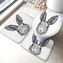 Easter Bathmat,Funny Easter Bunny Head Rabbit