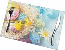 Easter Egg Flower Print Placemats, Dining Table