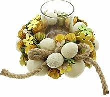Easter Egg Wood Chips Flower Hemp Rope Wreath Base