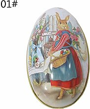 Easter Eggs Decorated Rabbit Bunny Tin Box Jar Tea