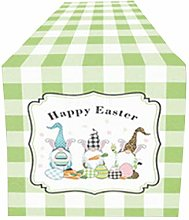 Easter Gnome Printed Table Runner Cotton Linen
