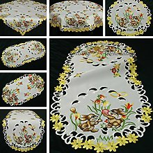Easter Table Runner/table Cloth White With Yellow