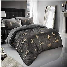 Easy Care Teddy Unicorn Star Foil Fleece Duvet Set
