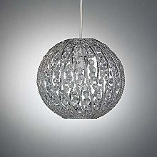 Easy Fit Chrome Pendant Ceiling Light with Beaded
