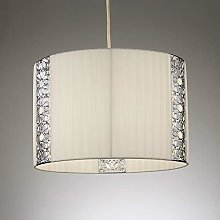 Easy Fit Cream Pendant Light Shade with Chrome