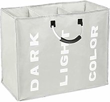 Easy Funny 3 Section Laundry Bag Basket Canvas