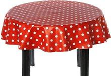 Easy Wipe Round Vinyl Tablecloth 137cm - Polka Red
