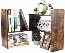 EasyPAG Wood Small Desk Shelves Adjustable Mini