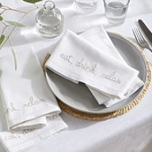Eat, Drink, Relax Napkins - Set of 4, White, One
