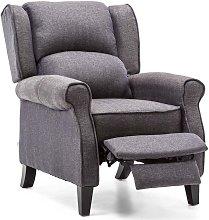 Eaton Herringbone Recliner Chair - Blue