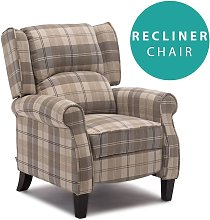 Eaton Wing Back Fireside Check Fabric Recliner