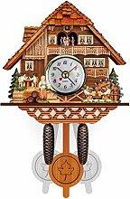 Eazyhrury Handcraft Wooden Cuckoo Clock Black