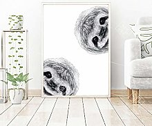 EBONP Canvas painting Abstract Black And White