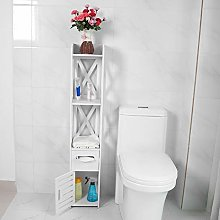 EBTOOLS Bathroom Floor Cabinet, 2X White Wooden