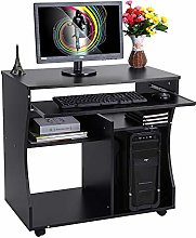 EBTOOLS Black Computer Desk Unit with Shelves and