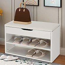 EBTOOLS Shoe Bench,2Layers Wooden Shoe Cabinet