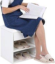 EBTOOLS Shoe Cabinet, 2-Tier Wooden Shoe Storage
