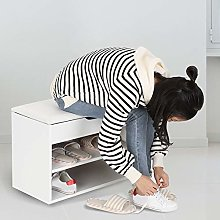EBTOOLS Shoes Cabinet,2 Tier Wooden Shoe Bench