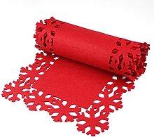 eBuyGB Festive Christmas Table Runner, Felt, Red,