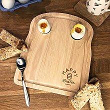 eBuyGB Happy Easter Breakfast Board, Wooden Toast