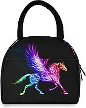 ECHOBU Lunch Bag Box Colorful Cool Fire Unicorn