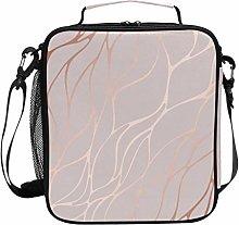 ECHOBU Rose Gold Marble Texture Lunch Bag Box