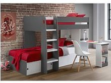 Eclipse Grey and White Wooden Storage Bunk Bed