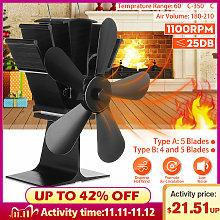 Eco Friendly 5 Blades Fireplace Fan Heat Powered