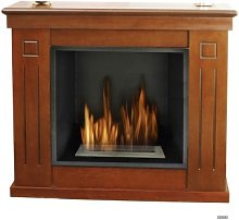 Ecological fireplace in worked wood.No need for a