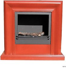 Ecological fireplace with a red-worked wood