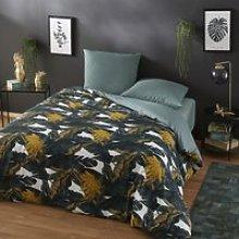 Ecru and Green Cotton Bedding Set with Banana Tree