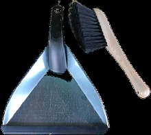 Eddingtons - Natural Zinc Dustpan and Wooden Brush