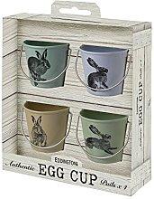 Eddingtons Vintage Hare Egg Cup Pails, Set of 4