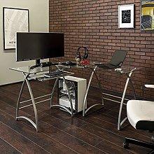 Eden Bridge Designs Computer Desk, Clear/Silver,