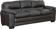 Edmund Leather 3 Seater Sofa, Black