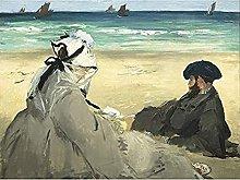 Edouard Manet On The Beach Art Print Canvas
