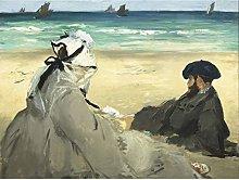 Edouard Manet On The Beach Large Wall Art Print