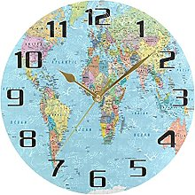 Education World Map Wall Clock Silent Non Ticking,
