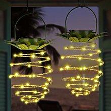 EEEKit 2 Pack Solar Lights Outdoor Metal Pineapple
