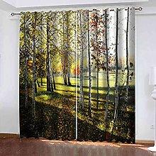 EEXDMX Birch forest landscape Blackout Curtains -
