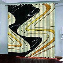 EEXDMX Black gold texture Blackout Curtains -