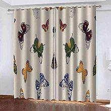 EEXDMX Blue butterfly print Blackout Curtains -
